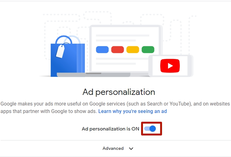 Toggle the ad personalization on or off