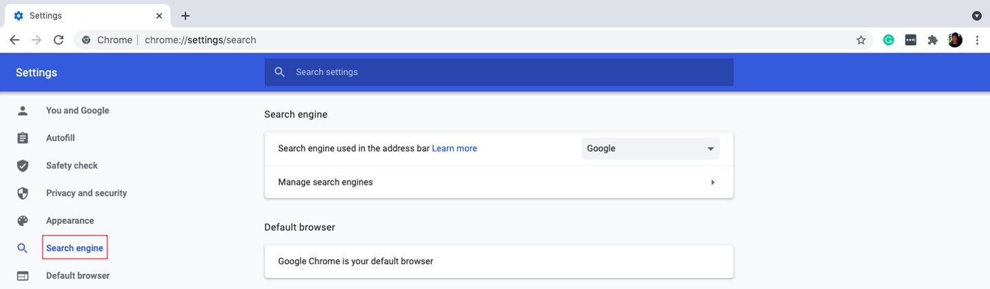 The Search engine section in Chrome