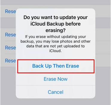 Back up your files before the reset