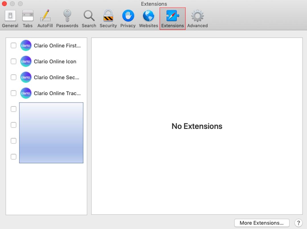 Extensions in Safari