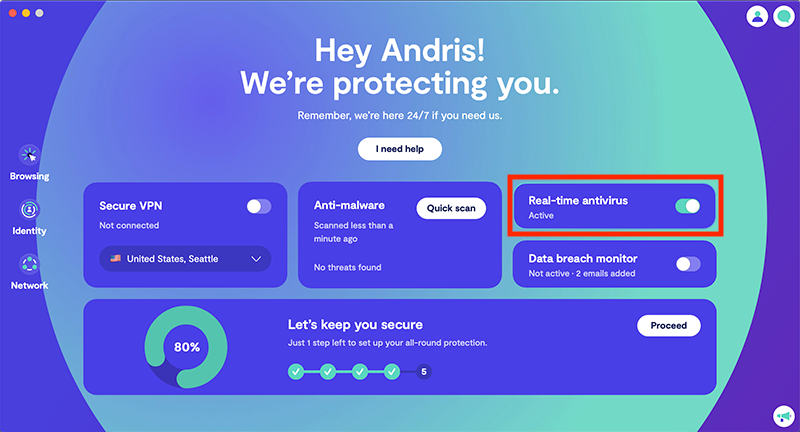 Real-time antivirus protection