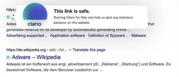 Clario browser extension checks links, sites, and search results for safety