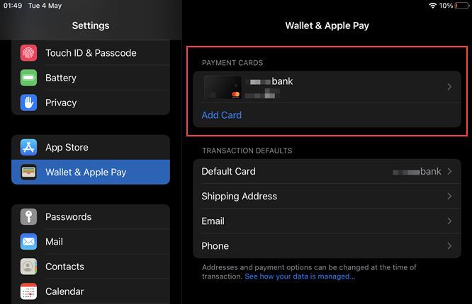 Apple Wallet: Your card is activated