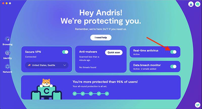 Turn on real-time antivirus