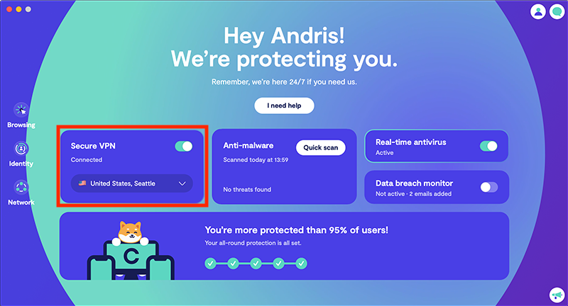 Unlimited secure VPN
