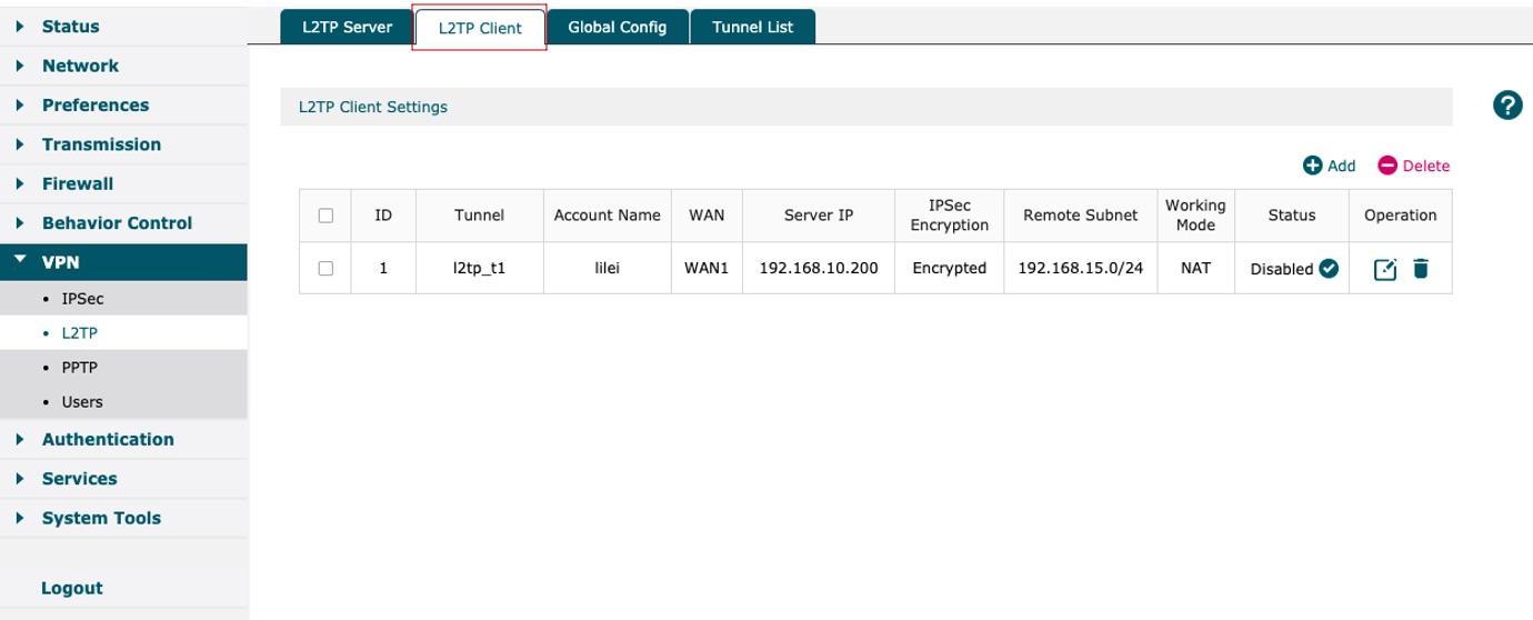 Select L2TP Client