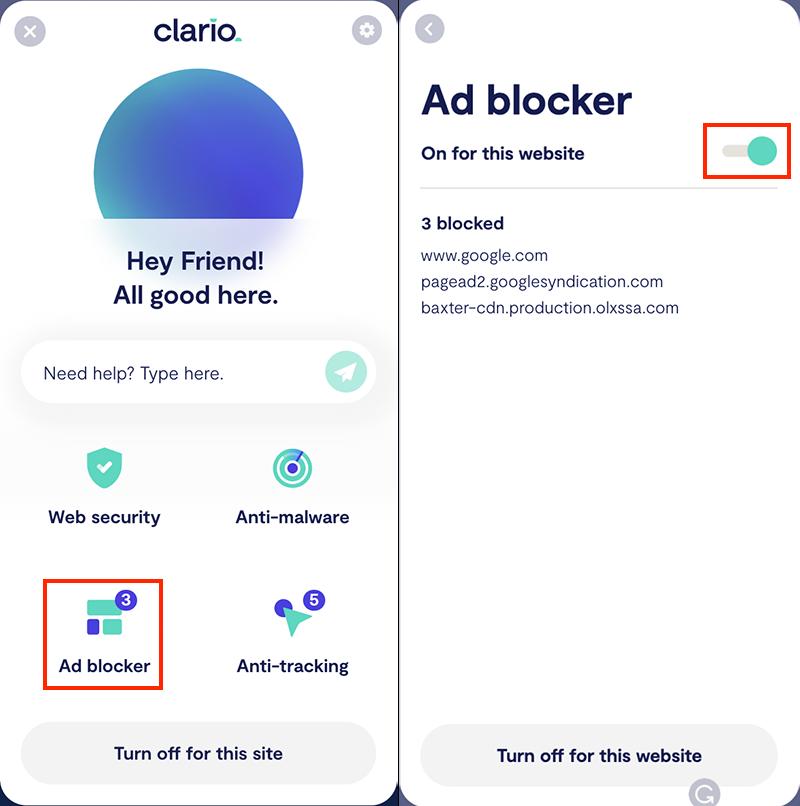 Clario ad blocker