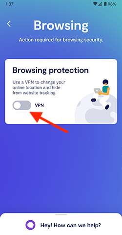 Enable VPN via the Browsing protection.