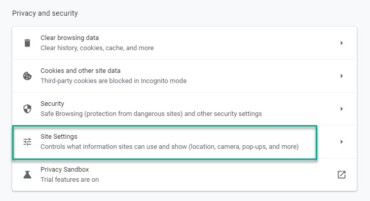 Scroll to Site settings