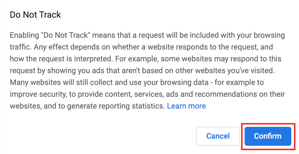 Do not track confirmation window