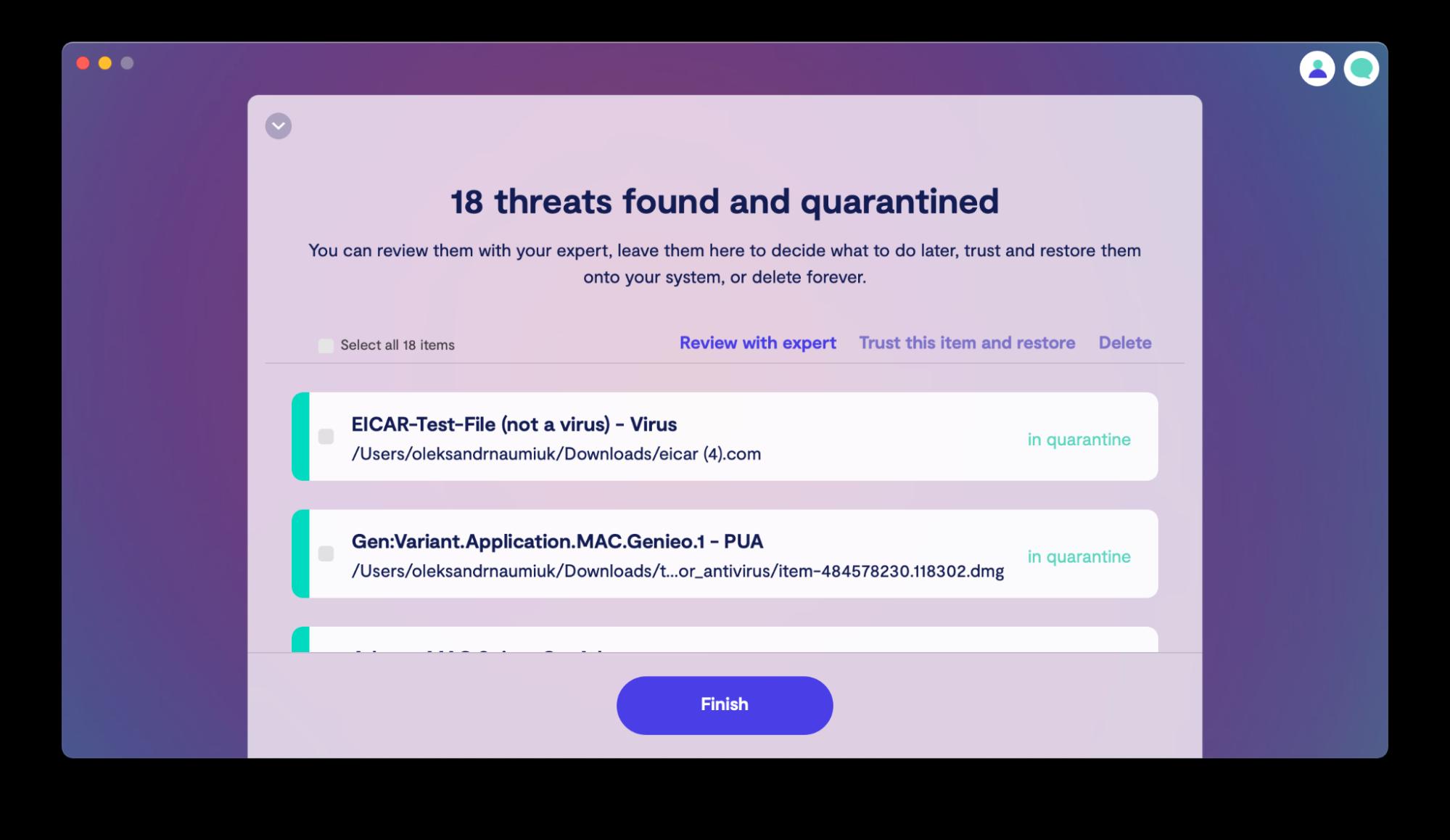 Delete detected threats