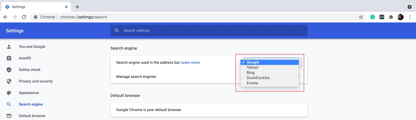 Choose Chrome as the default search engine