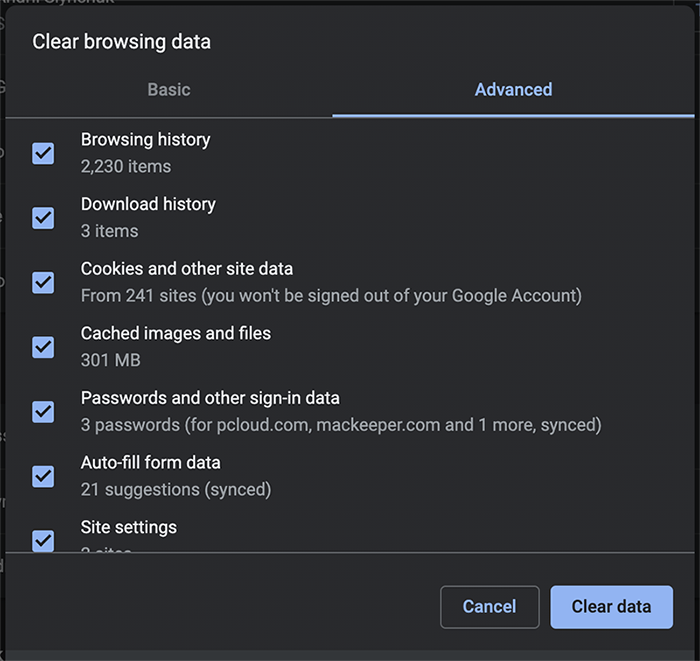 Clear ALL browsing data in Chrome