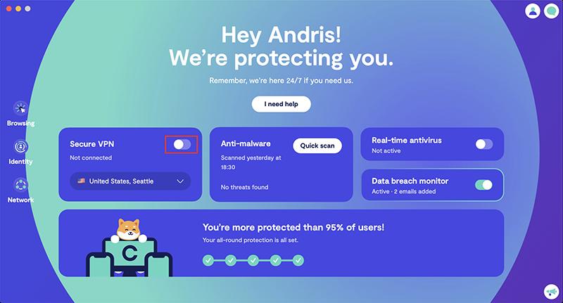 Toggle on Secure VPN