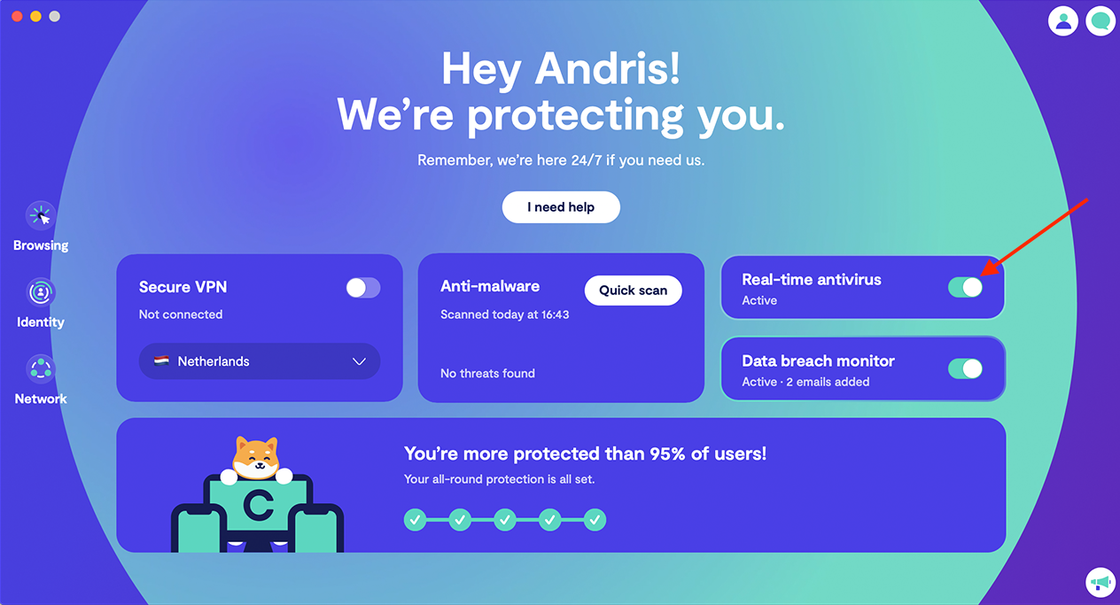 Turn on 24/7 antivirus protection
