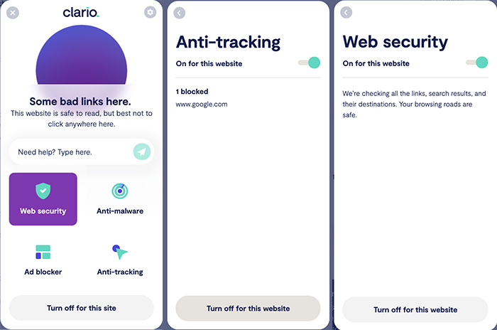 Clario web extension featuring ad blocker with anti-tracker functionality
