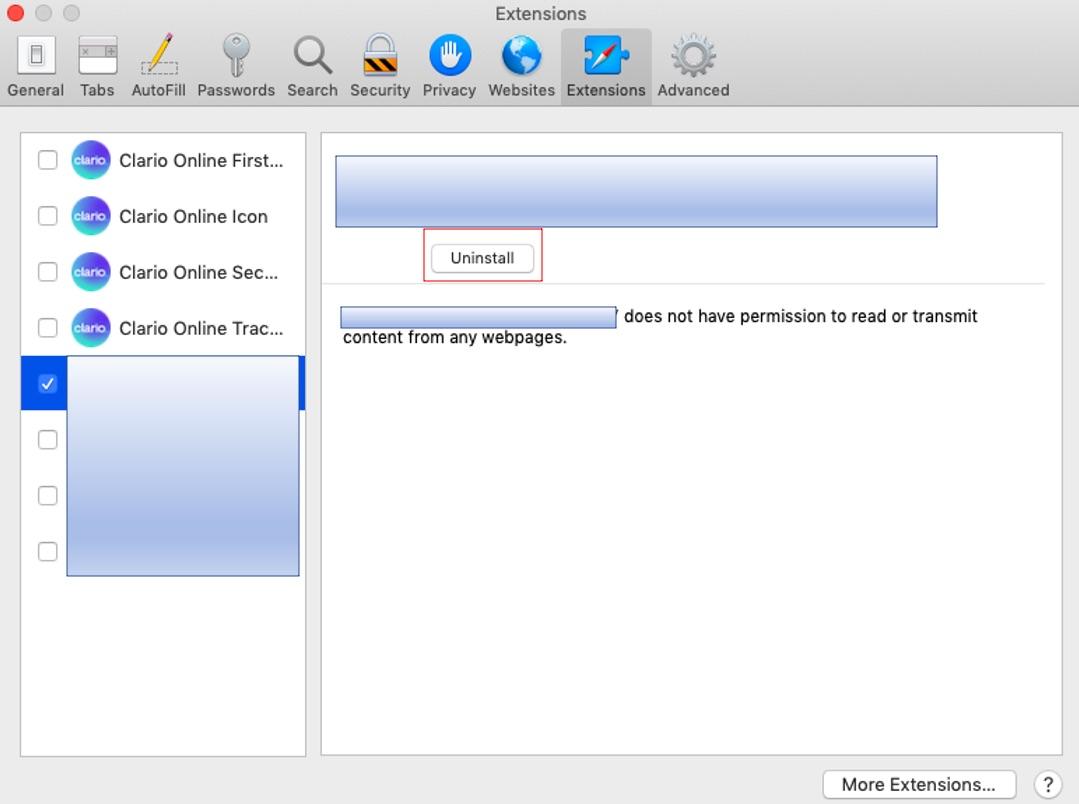 Uninstall extensions in Safari