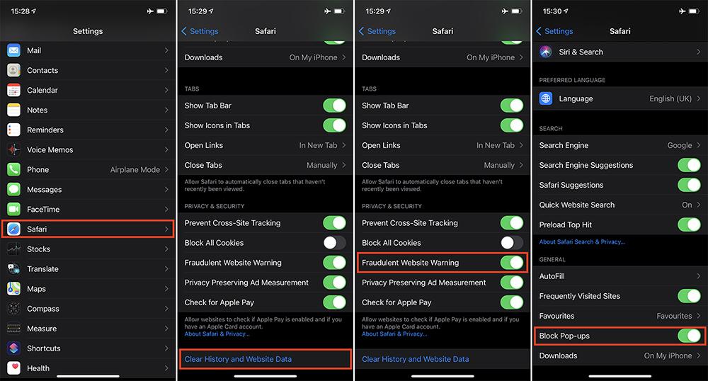 Adjust Safari Settings