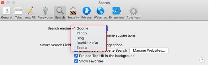 Select your preferred search engine in Safari