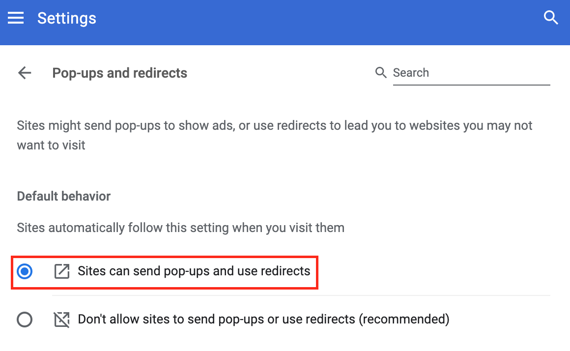 How to allow pop-ups in Chrome for all websites