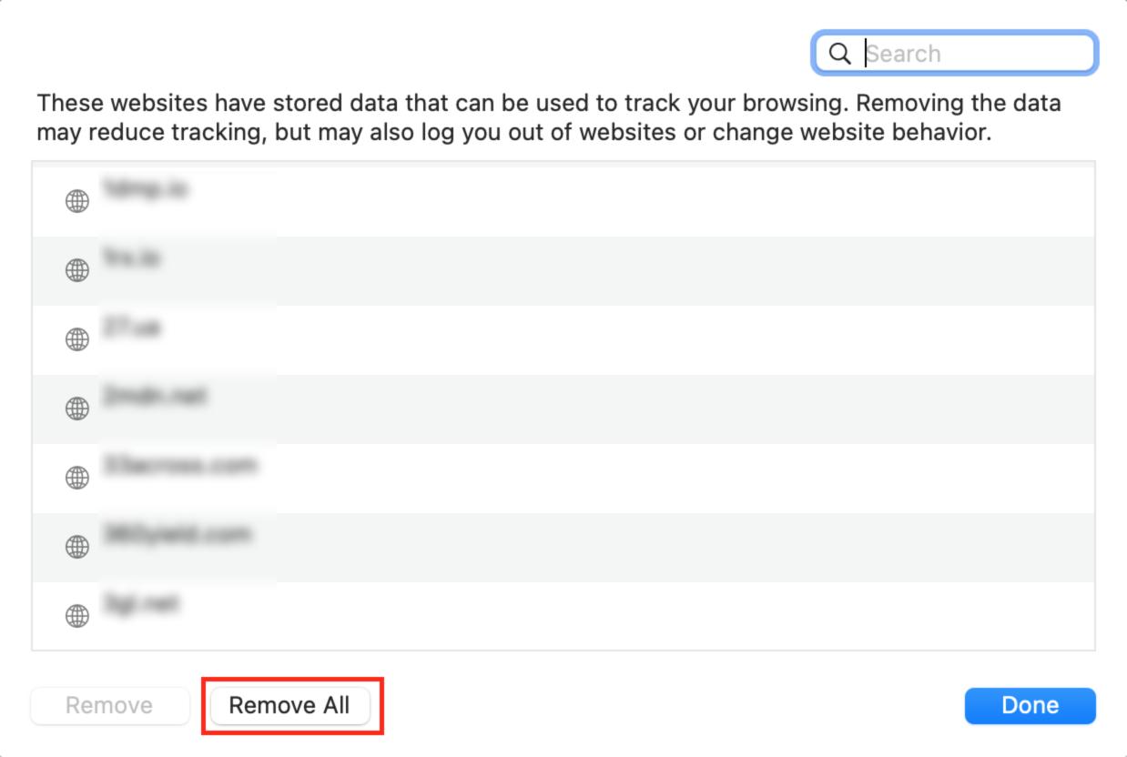 Removing website trackers in Safari