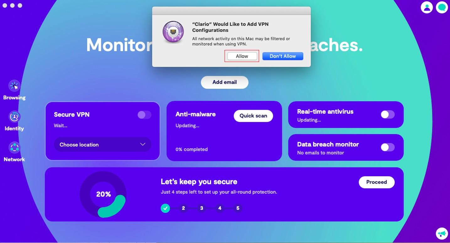 Allow Clario to add VPN configurations