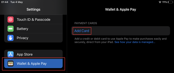 Setting up an Apple Wallet
