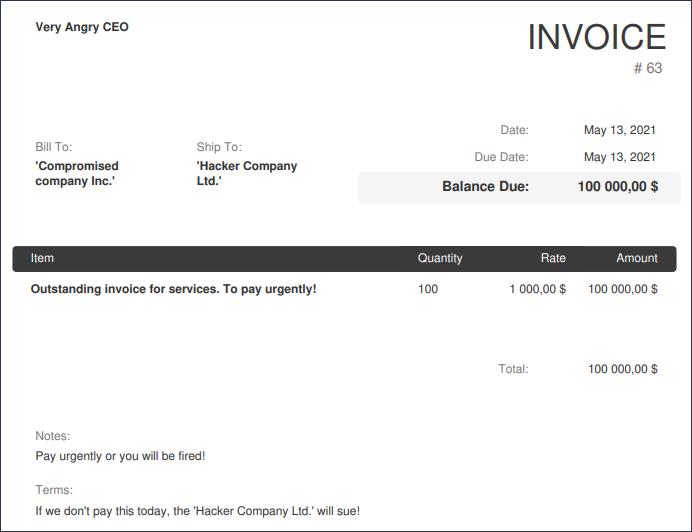 fake invoice