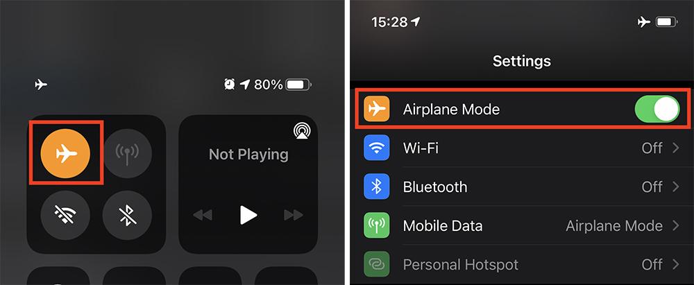 Turn Airplane Mode on