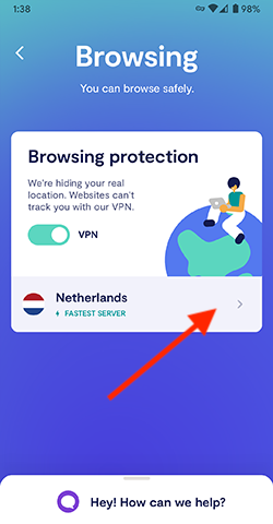 Tap on your browsing location to change it.