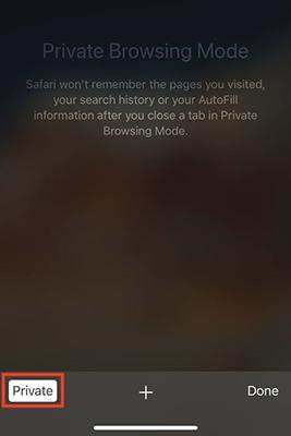 Private Browsing Mode in Safari