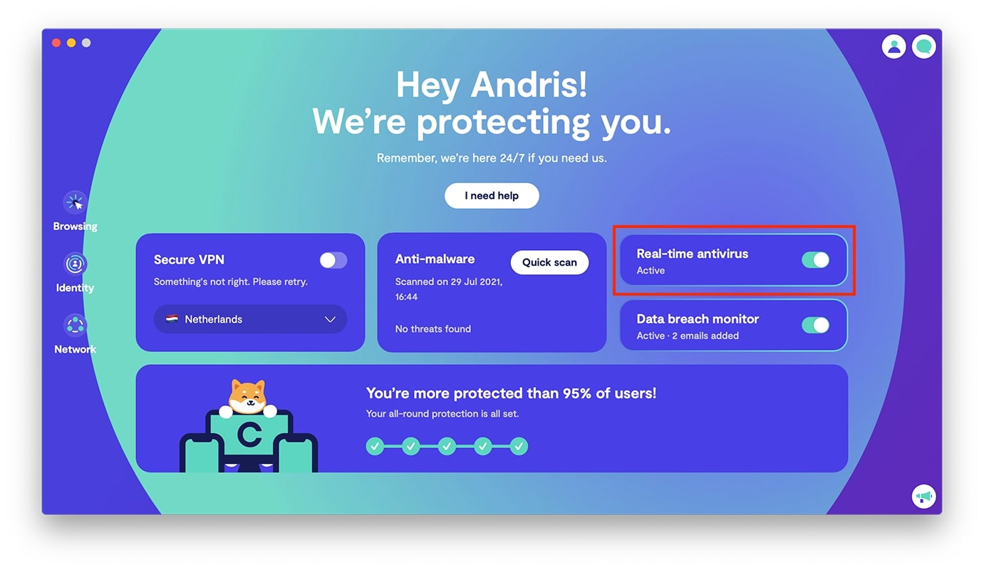 Activate real-time antivirus protection