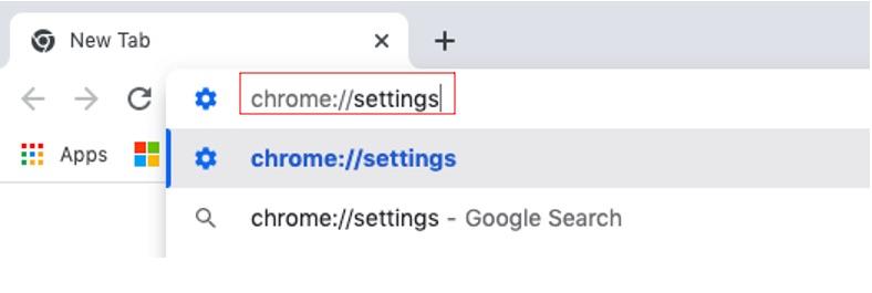 Locate Chrome settings