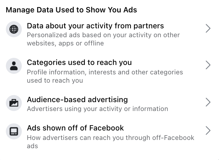 Facebook ad management settings
