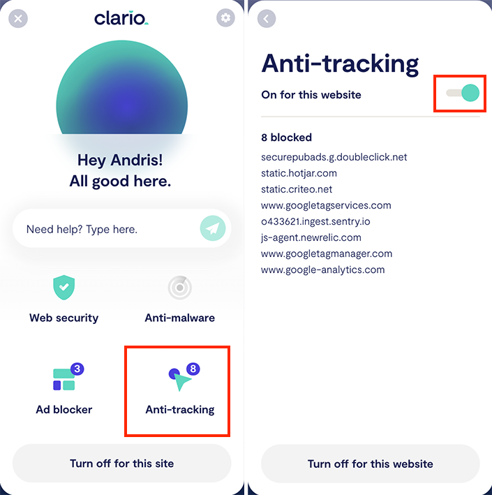 Clario anti-tracking