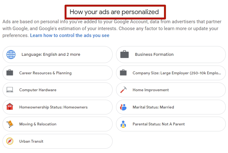 How your Google ads are personalized